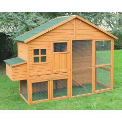 Poulailler Colorado avec volière en bois traité avec toit en toile goudronnée – Capacité 6 à 8 poules – 268 x 96 x 195 cm