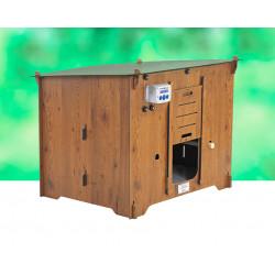 Poulailler Colonial en HPL aspect bois – Capacité 3 à 4 poules – 100 x 85 x 78 cm