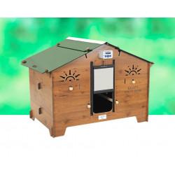 Poulailler Polly Farm en HPL aspect bois – Capacité 5 à 10 poules – 121 x 100 x 99 cm
