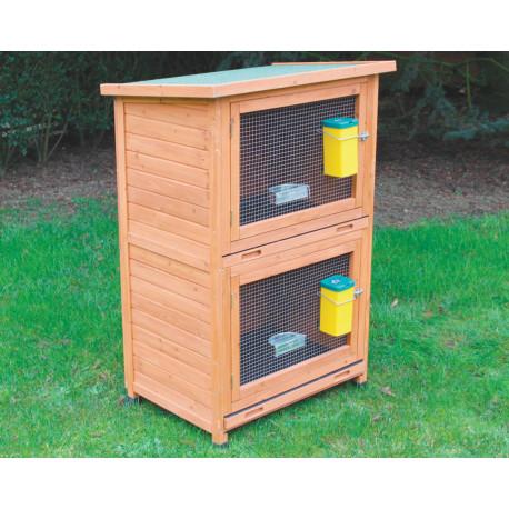 Clapier Campagne en bois lasuré – Capacité 2 à 4 lapins – 70 x 57 x 115 cm