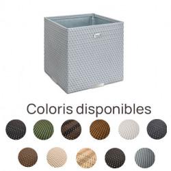 Jardinière en résine tressée carrée – 46 x 46 x 46 cm – Disponible en 11 coloris