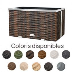 Jardinière en résine tressée rectangulaire avec cadre en alu – 70 x 38 x 40 cm – Disponible en 11 coloris