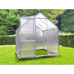 Serre de jardin en polycarbonate 2,3 m² Gris – 190 x 120 x 195 cm