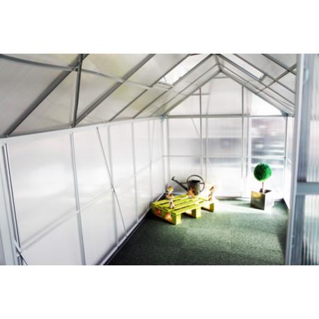 Serre de jardin en polycarbonate 7,2 m² Gris – 190 x 380 x 195 cm