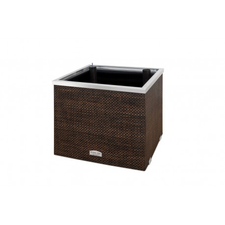 Jardinière avec réservoir d'eau en résine tressée carrée avec cadre en alu – 50 x 50 x 43 cm – Disponible en 14 coloris