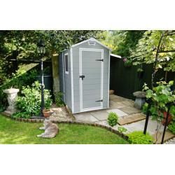 Abri de jardin en résine de couleur gris aspect bois- 130 x 192 x 198 cm - 2,4 m²