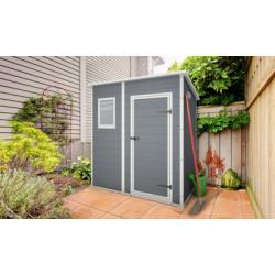Abri de jardin en résine de couleur gris - 183,5 x 111 x 200,5 cm - 2,04 m² - Toit Monopente