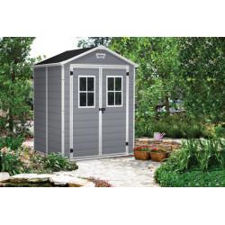 Abri de jardin en résine de couleur gris aspect bois – 185 x 152 x 226 cm – 2,8 m²