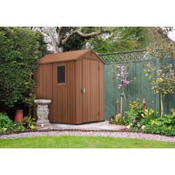 Abri de jardin en résine Darwin de couleur marron bois naturel - 125,8 x 184, 5 x 205 cm – 2,3 m²