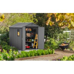 Abri de jardin en résine Darwin 68 de couleur gris aspect bois – 199 x 244 x 221 cm – 4,85 m²
