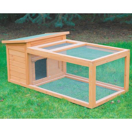 Clapier Pâturage en bois lasuré – Capacité 1 à 2 lapins – 122 x 65 x 50 cm