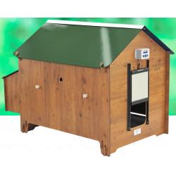 Poulailler Turin en HPL aspect bois – Capacité 8 à 12 poules – 156 x 102 x 107 cm