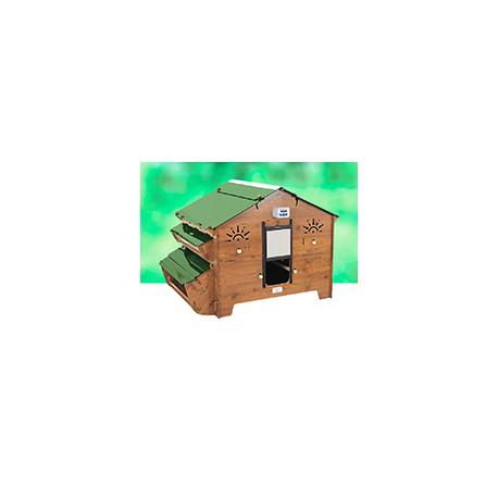 Poulailler Polly Farm Evolution en HPL aspect bois – Capacité 8 à 12 poules – 110 x 146 x 110 cm