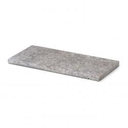 Margelle de piscine en pierre naturelle travertin gris 61 x 33 x 3 cm bord arrondi 180°
