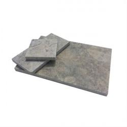 Dalle en pierre naturelle travertin gris 61 x 40,6 x 1,2 cm
