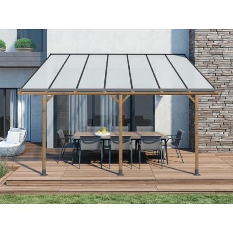 Toit de terrasse en pin traité autoclave de 11,22 m² – 371 x 303 x 274 cm – Toit en Polycarbonate