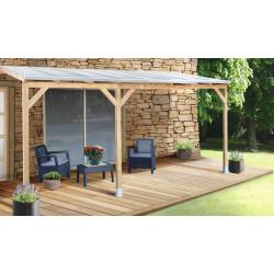 Toit de terrasse en pin traité autoclave de 14,92 m² – 493 x 303 x 274 cm – Toit en Polycarbonate