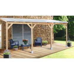 Toit de terrasse en pin traité autoclave de 16,76 m² – 554 x 303 x 274 cm – Toit en Polycarbonate