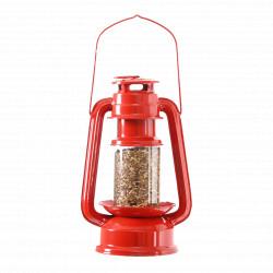 Mangeoire en forme de lanterne en acier rouge – 11,4 x 15,3 x 23,8 cm