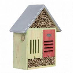 Hôtel à insectes taille XL en bois de pin FSC 100 % et toit en zinc – 13,7 x 31,5 x 38,2 cm