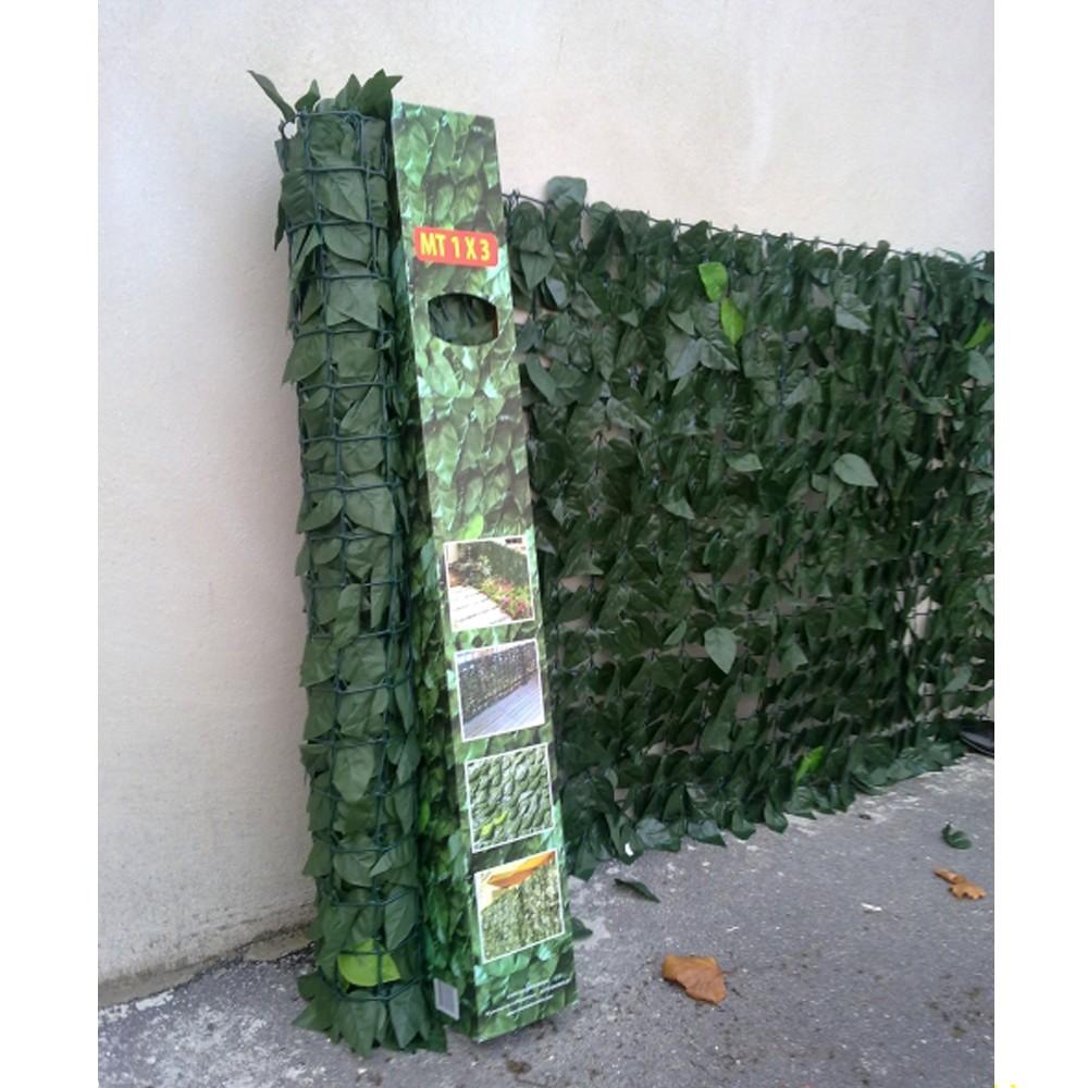 Haie artificielle de jardin en PVC laurier 300 x 100 cm