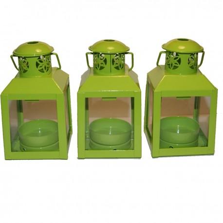 Lot de 3 lanternes vert anis