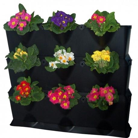 Jardinière murale en polypropylène Mini-Garden 64,6 x 19 x 57 cm noir
