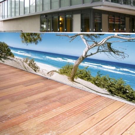 Brise vue de jardin en polyester décor Plage Corse 300 x 80 cm