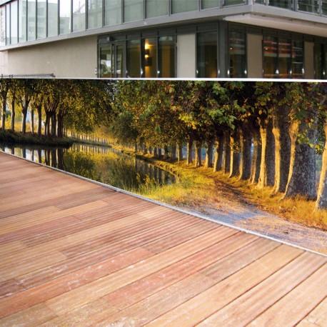 Brise vue de jardin en polyester décor Canal du Midi 300 x 80 cm