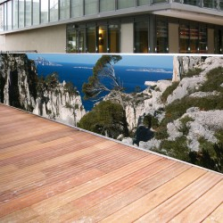 Brise vue de jardin en polyester décor Calanques 300 x 80 cm