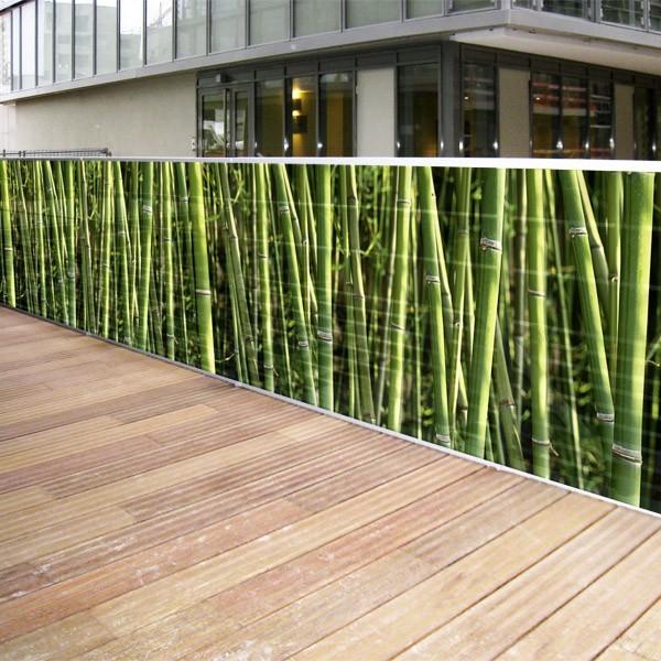 Brise vue de jardin en polyester décor Bambous 500 x 100 cm