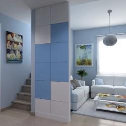 Cloison amovible bicolore Blanc et Bleu