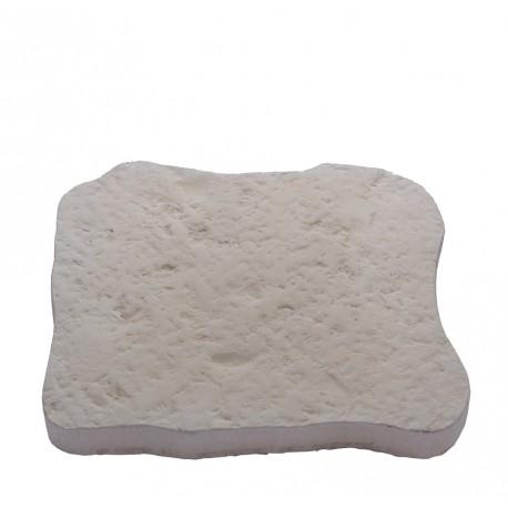 Pas japonais en pierre reconstituée bouchardée blanc de face
