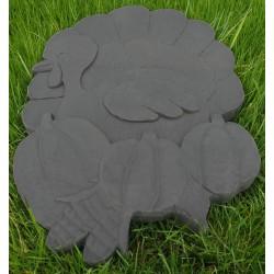 Pas Japonais en pierre reconstituée animaux thanksgiving gris anthracite 39 x 26 x 3 cm