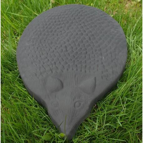 Pas japonais en pierre reconstituée animaux hérisson gris anthracite 39 x 34 x 3 cm