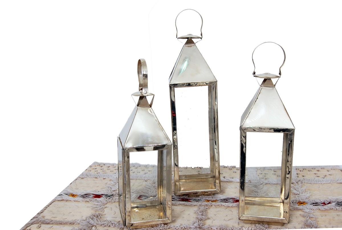 Lanterne chrom e d corative 36cm for Lanterne deco exterieur