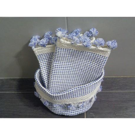 Gant de toilette, serviette et vide poche bleu