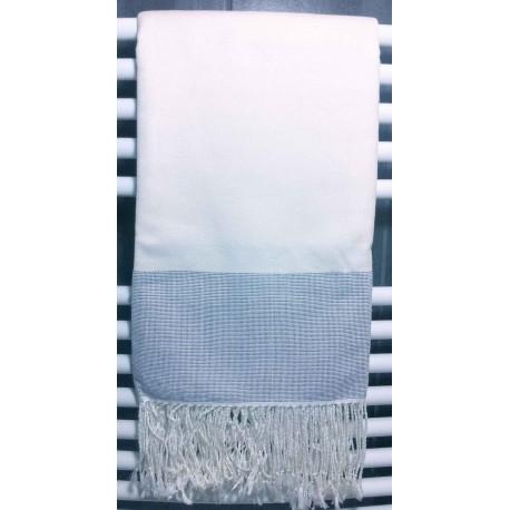 Serviette bain à rayures de 180x90 cm bleu