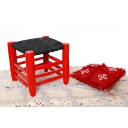 Tabouret bois rouge