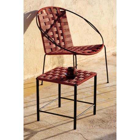 Tabouret bas et fauteuils fer