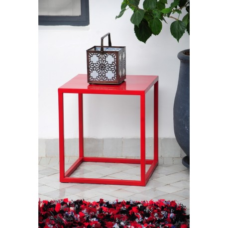 Table balcon rouge en fer 40 cm