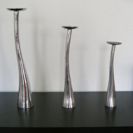 Bougeoir chandelier plein en aluminium lisse