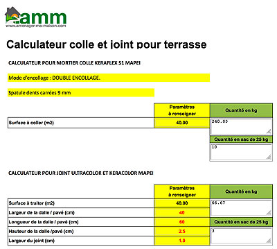 calculateur colle et joint