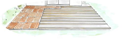 Pose de dalles bois sur lambourdes