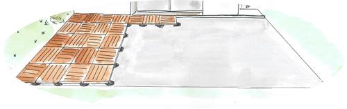 Pose dalles bois sur plots plastique