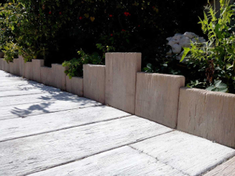 bordure aspect bois en pierre reconstituee