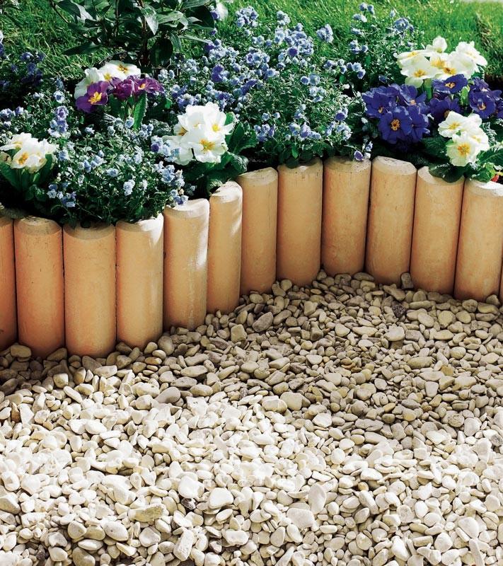 D couvrez la bordure pierre reconstitu e aspect rondin de bois - Idee de bordure de jardin ...