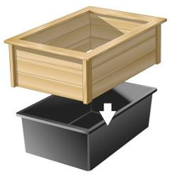 bassin plastique avec cadre en bois