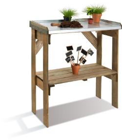 table de preparation bois et zinc 2 niveaux