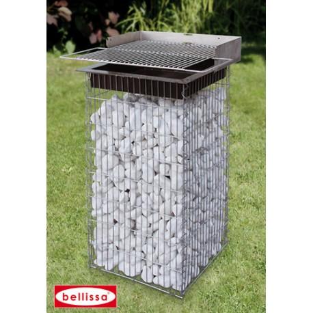 barbecue gabion 40 x 40 cm avec galets